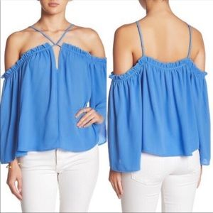 Blue Off The Shoulder Ruffle Top Keyhole Strappy
